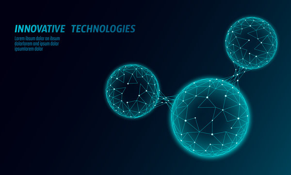 Low poly water molecule structure 3D render concept. Polygonal science research ecological technology art. Futuristic modern abstract background. H2O formula particle cell mesh vector illustration