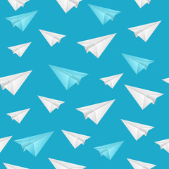 Realistic Detailed 3d Paper Aircraft Seamless Pattern Background. Vector