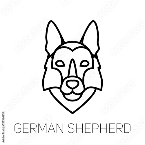 German Shepherd linear face icon  Isolated outline dog head