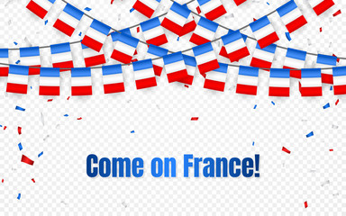 France garland flag with confetti on transparent background, Hang bunting for French celebration template banner, Vector illustration
