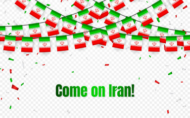 Iran garland flag with confetti on transparent background, Hang bunting for celebration template banner, Vector illustration
