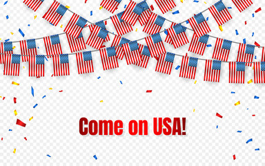 USA garland flag with confetti on transparent background, America Hang bunting for celebration template banner, Vector illustration