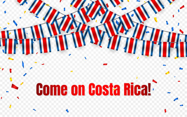 Costa Rica garland flag with confetti on transparent background, Hang bunting for celebration template banner, Vector illustration