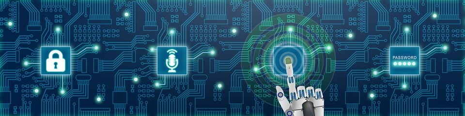 i4b115 Industrie4Banner i4b - Künstliche Intelligenz: Robotersystem / Sprachsteuerung / Leiterplatte - english - artificial intelligence: speech recognition - circuit board - banner 4to1 xxl g6581
