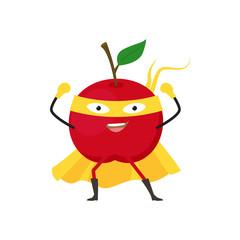 Cartoon Superhero Character Red Apple Flat Design. Vector