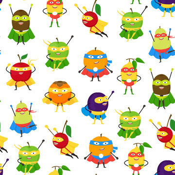 Cartoon Vegetables and Fruit Superhero Characters Seamless Pattern Background. Vector
