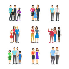 Cartoon Characters Different Homosexual Couples Families Set. Vector