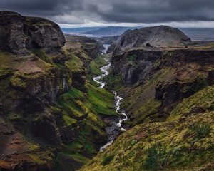 Fototapete - Landscape view of Thorsmork mountains canyon and river, Iceland