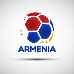 Abstract soccer ball with Armenian national flag colors