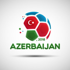 Abstract soccer ball with Azerbaijanian national flag colors