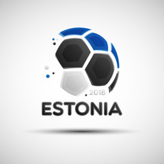 Abstract soccer ball with Estonian national flag colors
