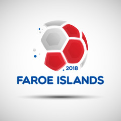 Abstract soccer ball with Faroe Islands national flag colors