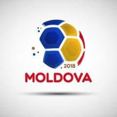 Abstract soccer ball with Moldova national flag colors