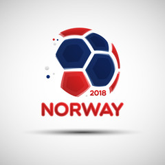 Abstract soccer ball with Norway national flag colors