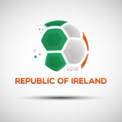 Abstract soccer ball with Republic of Ireland national flag colors
