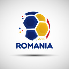 Abstract soccer ball with Romanian national flag colors