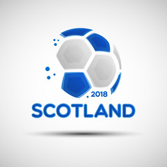 Abstract soccer ball with Scottish national flag colors