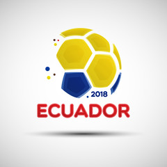 Abstract soccer ball with Ecuadorian national flag colors