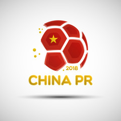 Abstract soccer ball with Chinese national flag colors