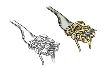Spaghetti on fork. Vector vintage engraving color and black illustration