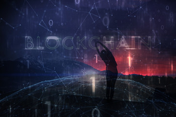 Silhouette of woman stands on top of the hill with arms raised. Conceptual colorful blockchain business cyberspace background.