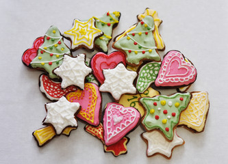 christmas handmade sweet colorful cookies on white background