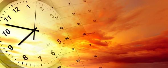 Clock and calendar in sky
