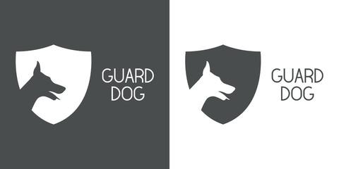 Logotipo escudo con cabeza perro y texto GUARD DOG en gris y blanco