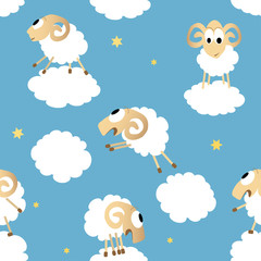 Seamless pattern with cute funny sheep