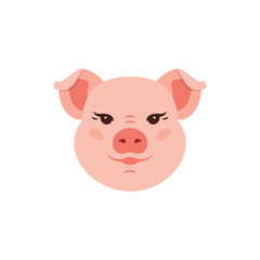 Pig icon, Cute Piggy logo, Funny pink head pig. Vector flat illustration