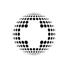 Logotipo sanidad global con cruz espacio negativo en circulos negro