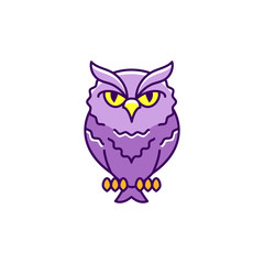 Halloween owl icon, eagle-owl. Thin line art colorful design, Flat owl sign. Vector outline illustration