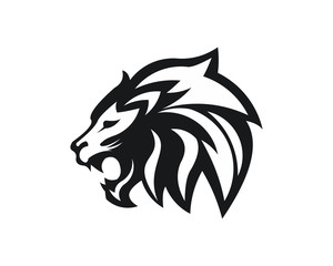 Lion head - vector logo template creative illustration. Animal wild cat face graphic sign. Pride, strong, power concept symbol. Design element.