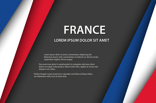 Modern vector background with French colors and grey free space for your text, overlayed sheets of paper in the look of the French flag, Made in France