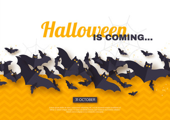 Halloween holiday design. Paper cut style flying bats on yellow and white background, greeting text. Vector illustration.