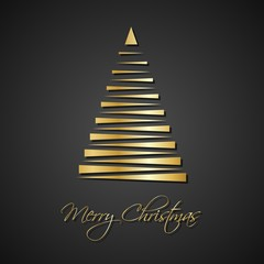 Modern golden christmas trees on black background, holiday greeting card with merry christmas sign