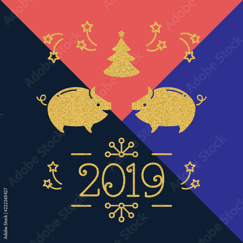 modern happy new year card 2019 year of the pig holiday card golden