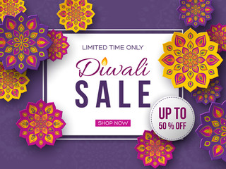 Sale poster or banner for festival of lights - Diwali. Paper cut style of Indian Rangoli. Violet background. Vector illustration.