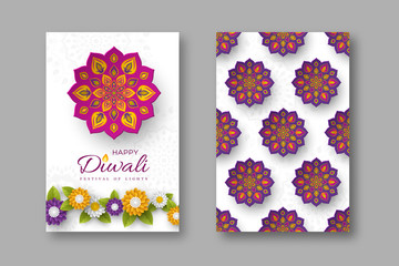 Diwali festival holiday posters with paper cut style of Indian Rangoli and flowers. Purple, violet colors on white background. Vector illustration.