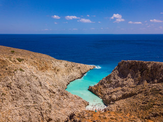 Aerial view of Seitan Limania Beach. Photo from drone to beach and sea. Beautiful wallpaper. Crete, Greece.