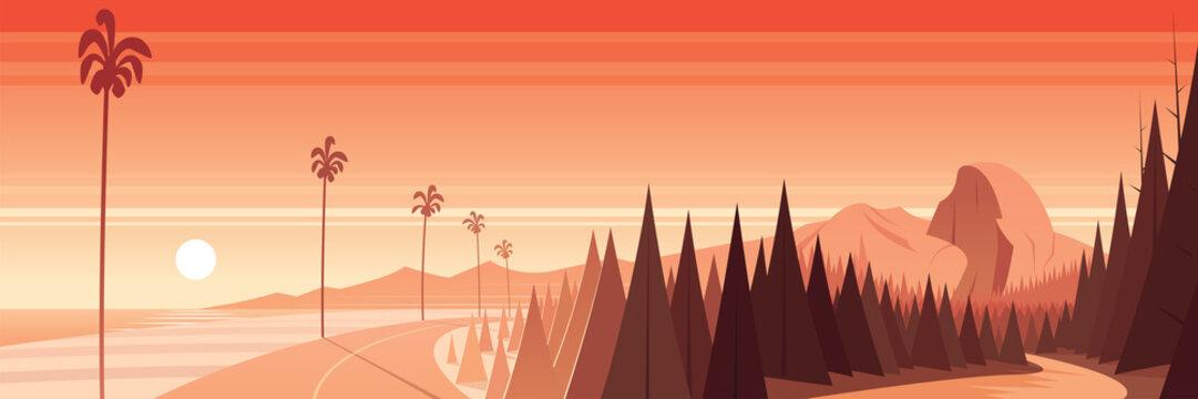 California Nature Landmarks and Landscape Scene