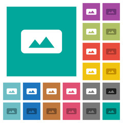 Panorama picture square flat multi colored icons