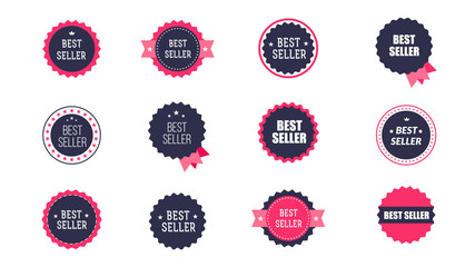 Vintage Bestseller Vector Icons. Set Of Isolated On White Background Bestseller Labels