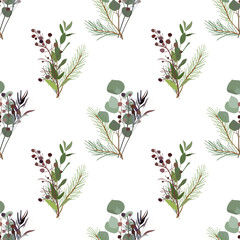 Seamless pattern of foliage natural branches, green leaves, herbs, tropical plant hand drawn, Vector fresh beauty rustic eco friendly background