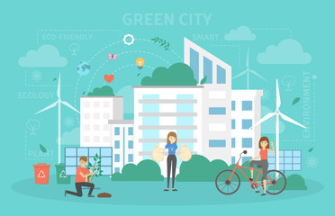 Eco friendly city with green energy concept