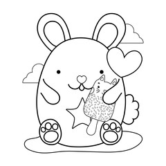 outline cute mouse and kawaii cat ice lolly