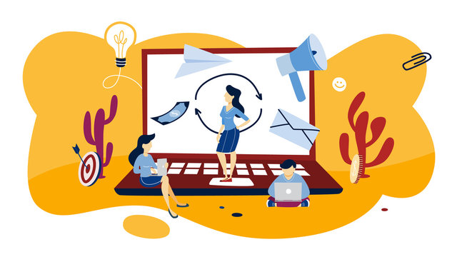 Remarketing concept illustration. Business strategy or campaign