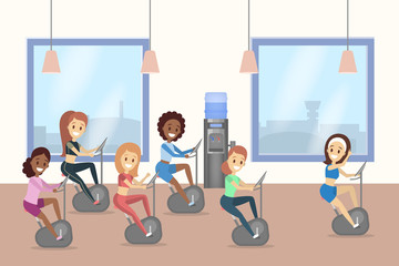 Group of beautiful women training on treadmill in the gym