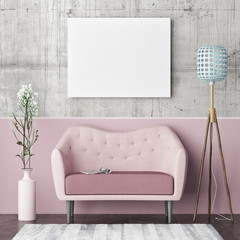 Mock up poster, hipster living room, rose color concept, 3d render ed illustration