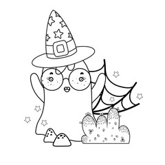 outline ghost wearing glasses with witch hat